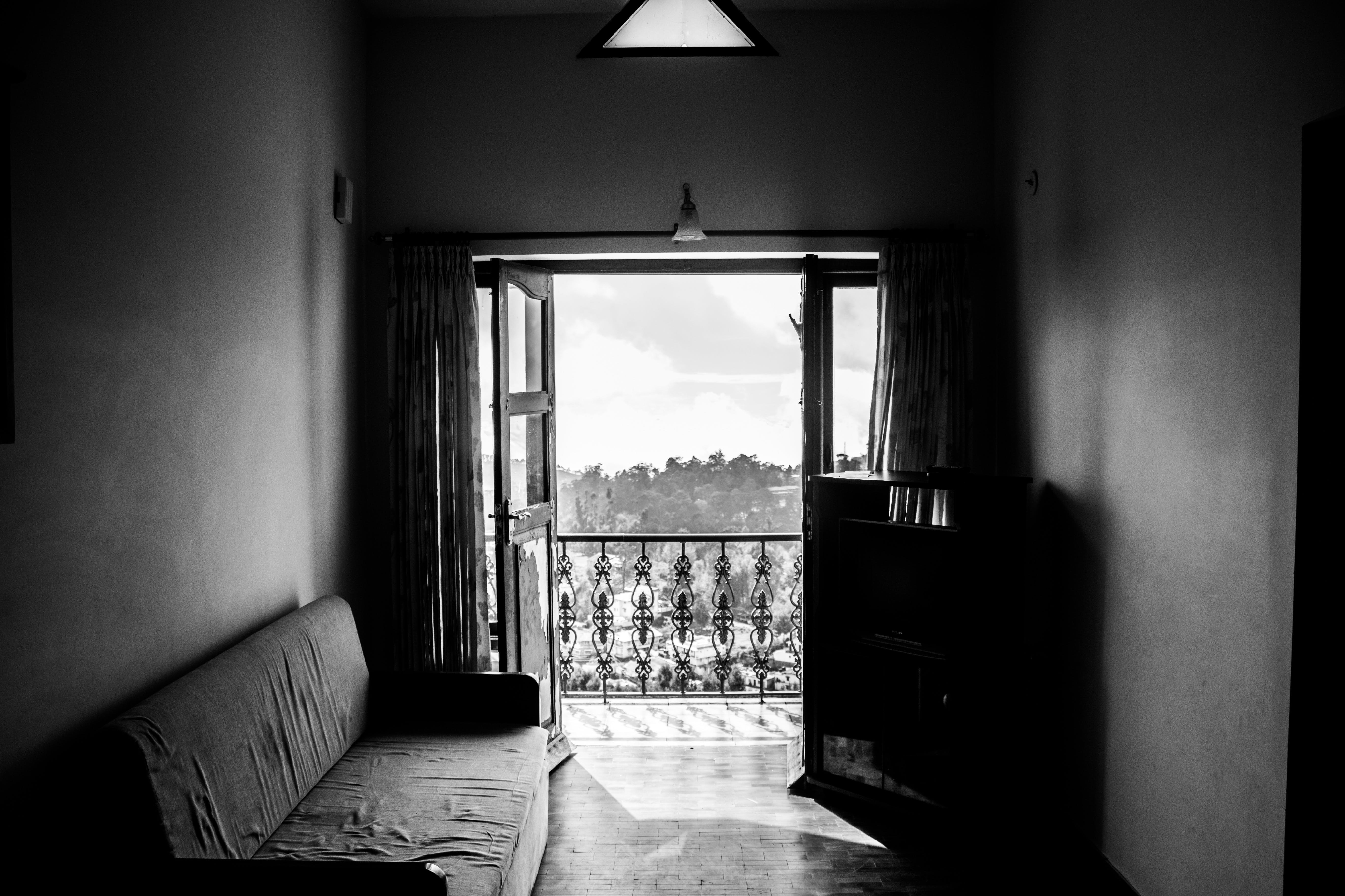 Black and White Photo of Balcony