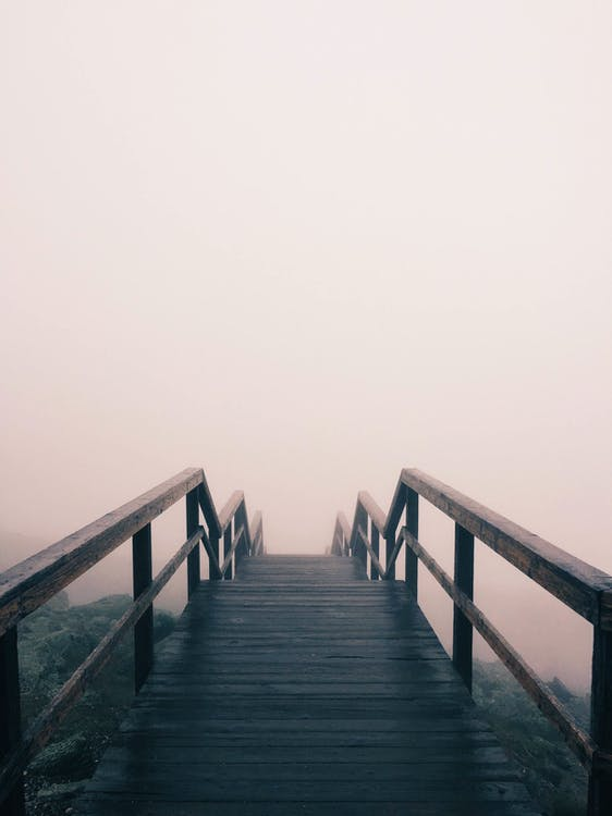 Fog Covered Wooden Stairs