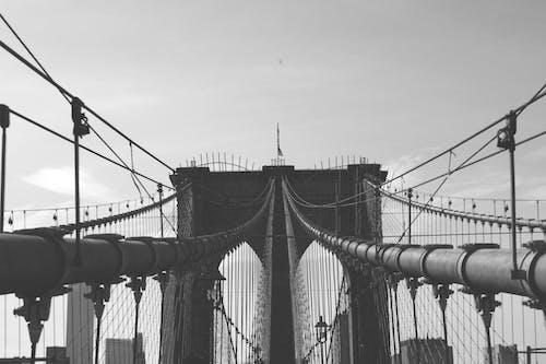 คลังภาพถ่ายฟรี ของ ขาวดำ, สถาปัตยกรรม, สะพาน, สะพานบรูคลิน