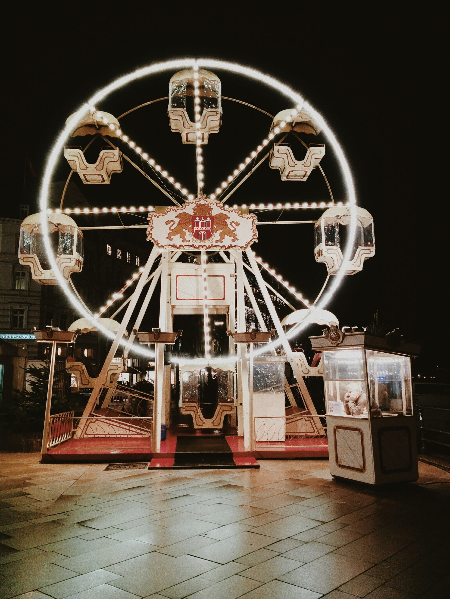 Empty Ferris Wheel Lightened at Night