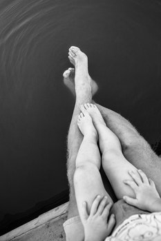 Free stock photo of black-and-white, shorts, hands, feet