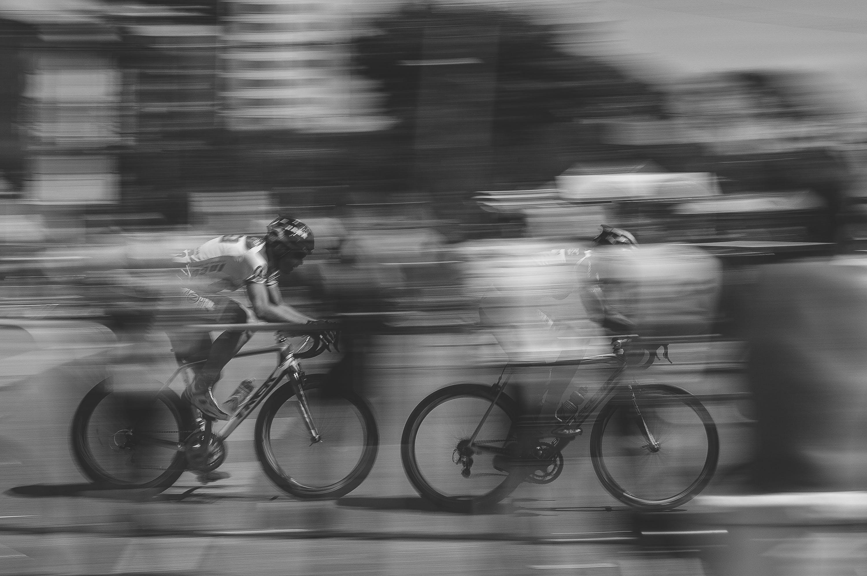 Free stock photo of black-and-white, blur, motion, bike
