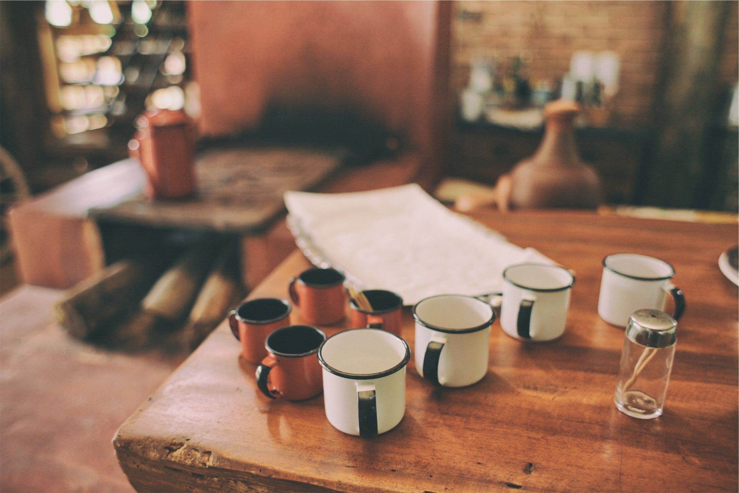 Free stock photo of wood, table, cups, mugs
