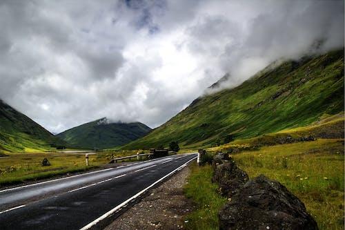 Grey Storm Clouds over Empty Highway