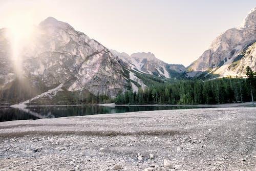 ağaçlar, dağlar, doğa, gün doğumu içeren Ücretsiz stok fotoğraf