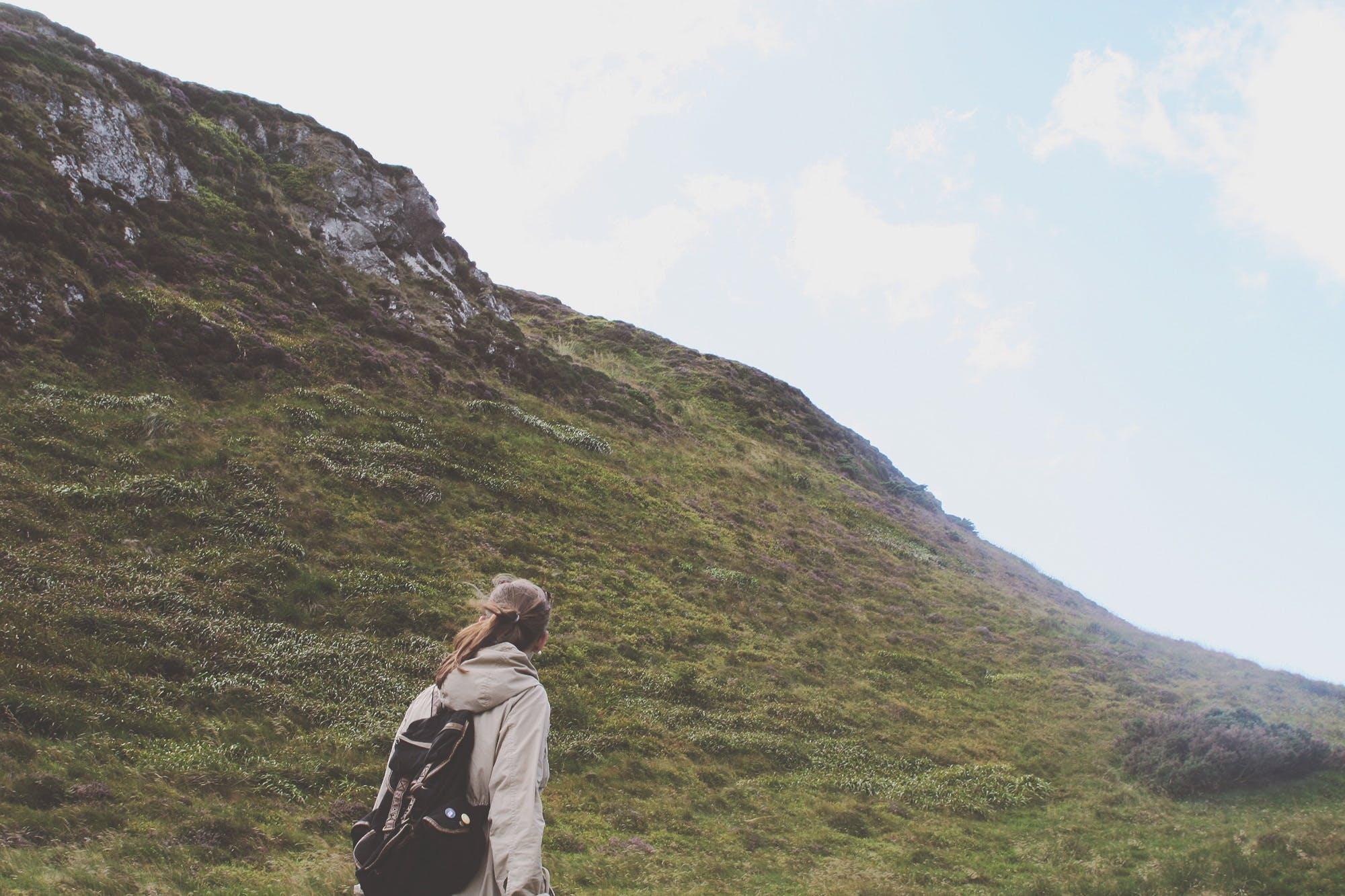 Free stock photo of backpack, brunette, girl, grass