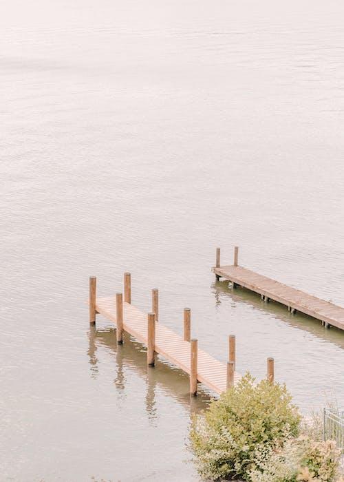 Wooden pier on calm sea in summer