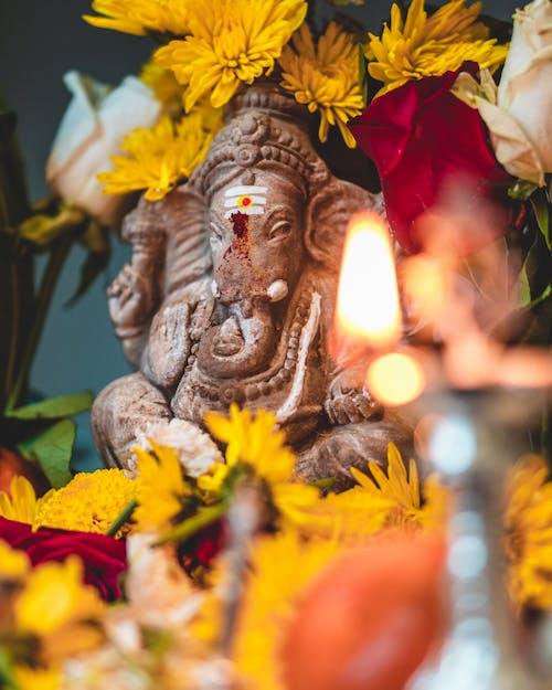 Ganesha Elephant Surrounded by Yellow Flowers