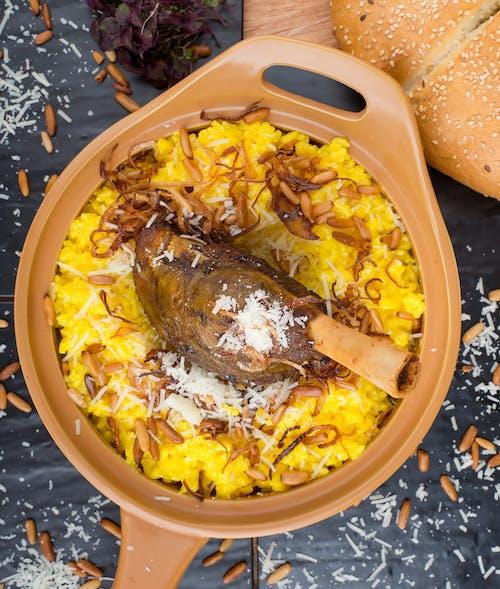 Food in a Brown Ceramic Cooking Pan