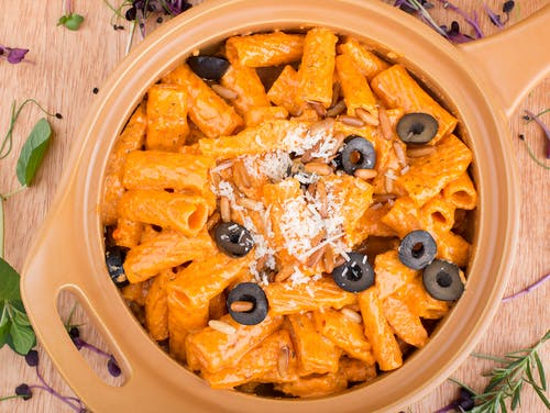 Pasta with Black Olives on Top