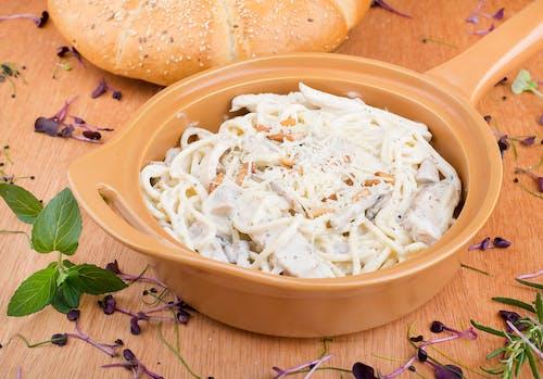 White Pasta on Ceramic Pan