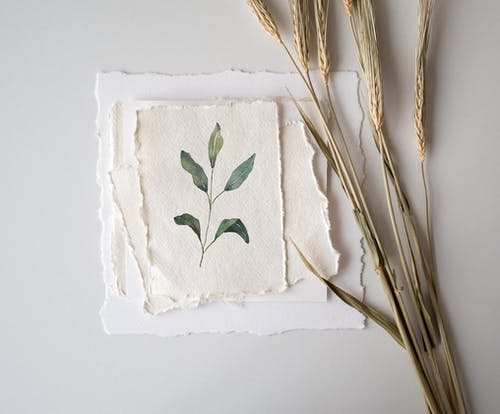 Green Leaves Painting on White Textile