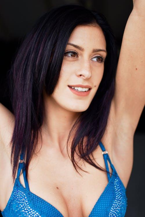 Woman in Blue Bikini Top