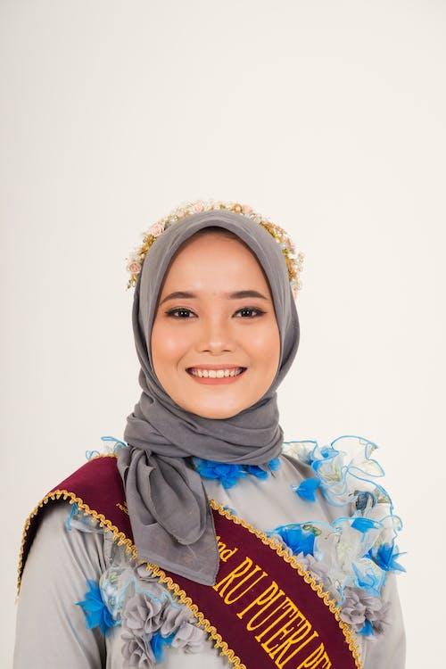 Woman Wearing Gray Hijab