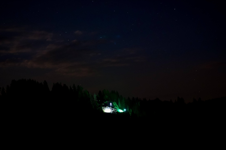 astrophotography, cross, night