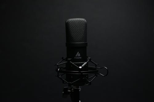Black Microphone With Black Background
