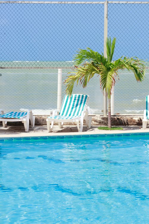 White and Brown Wooden Lounge Chairs Beside Swimming Pool