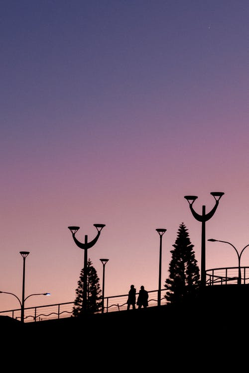 Silhouette of Street Lamps During Sunset