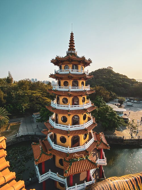 Brown and White Temple on Mountain