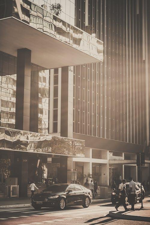auto, budova, lúče slnka