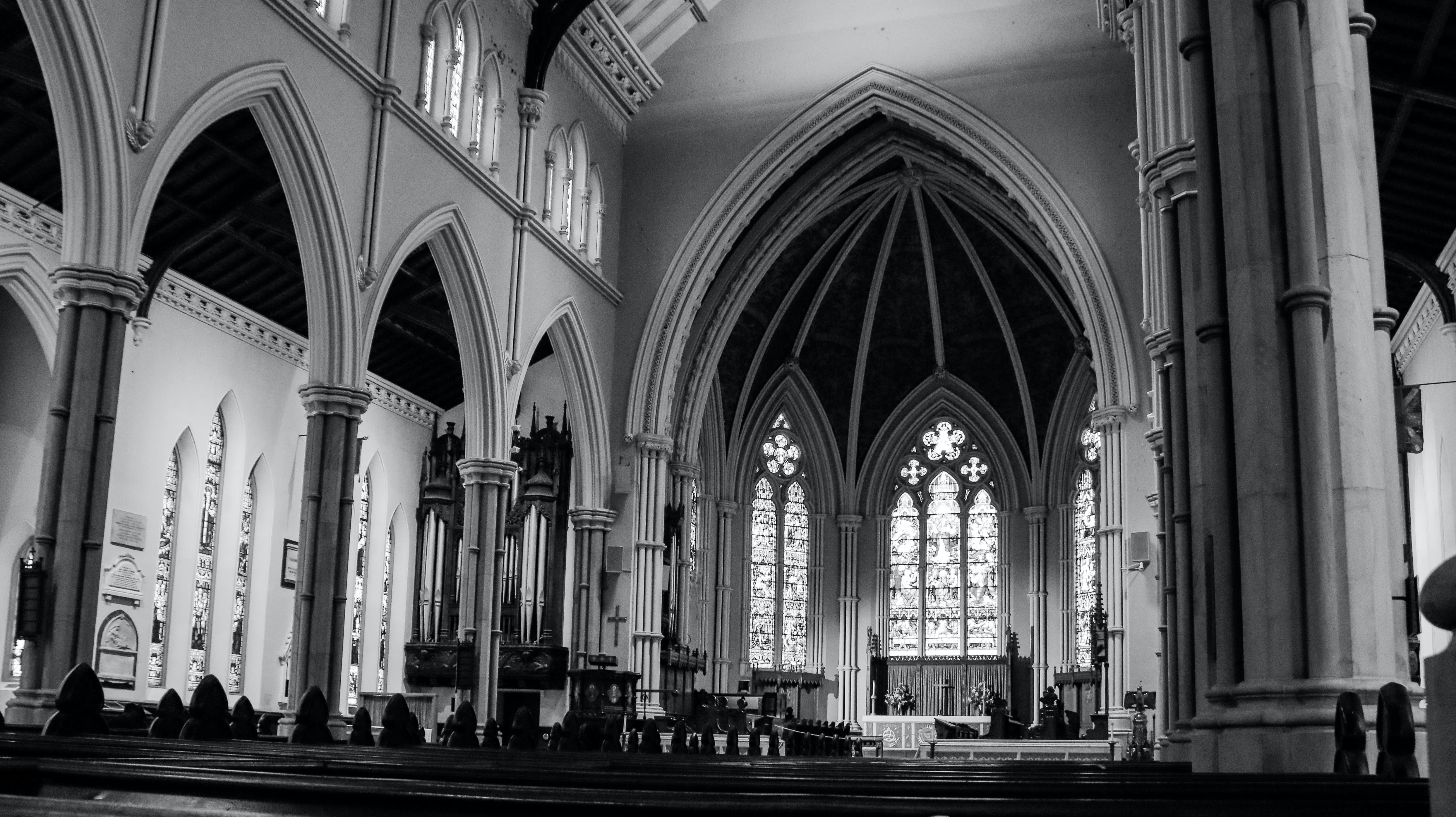 Free stock photo of ambience, ancient church, black and-white, canada