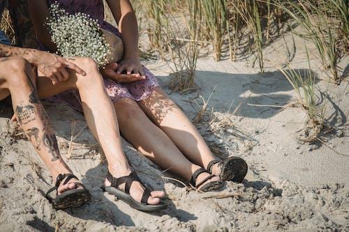 People Sitting on Sand