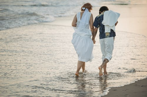 Man and Woman Walking on Shore
