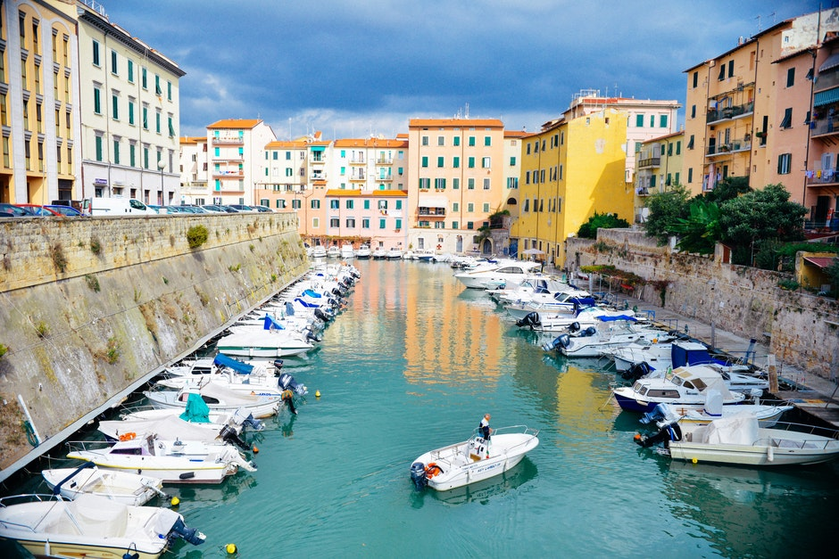 boats, canal, harbor