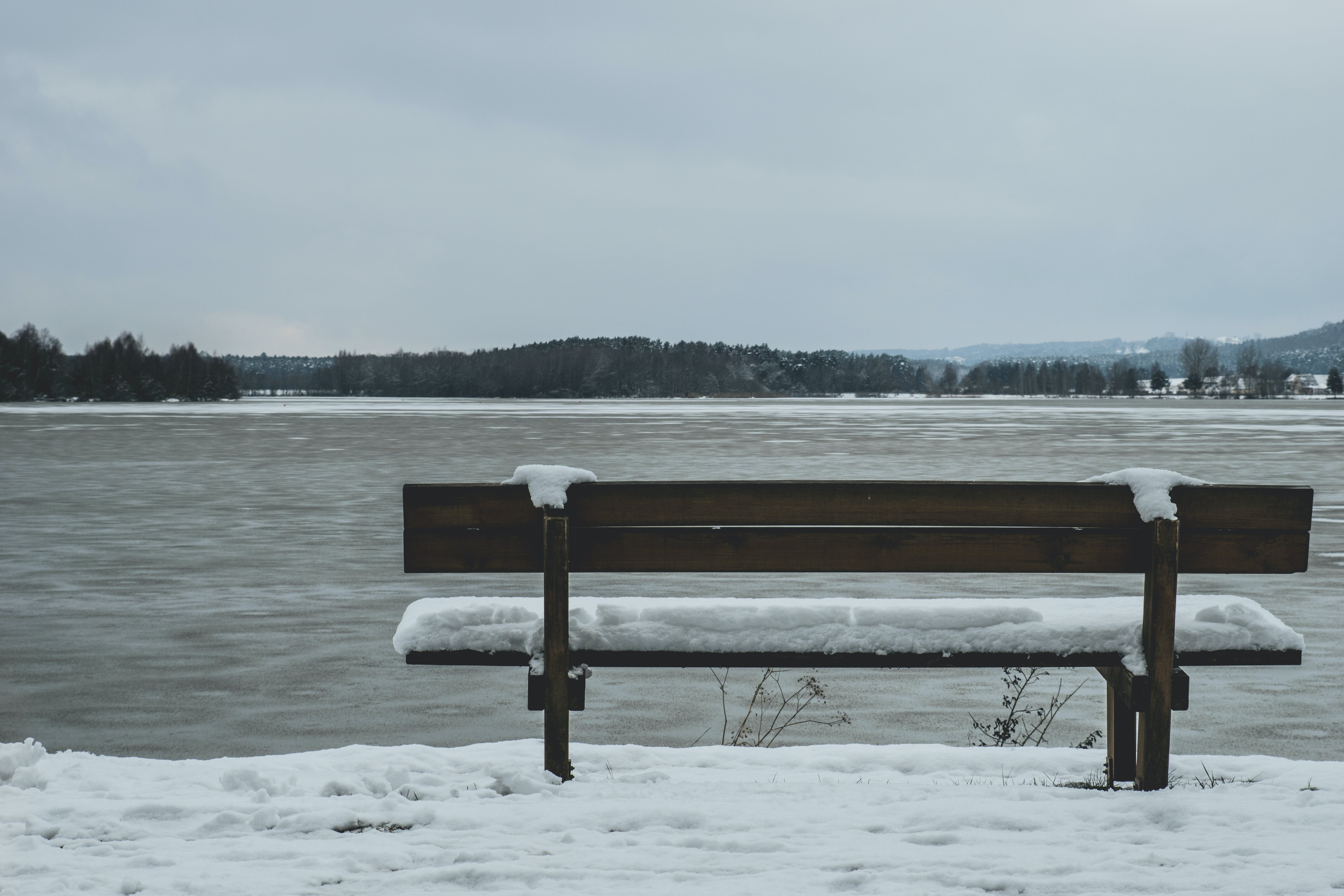 Snow Covered Bench in Front of Body of Wa Ter