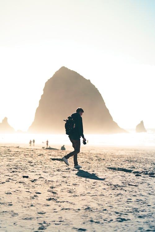 Anonymous guy walking on sandy seashore on sunny day