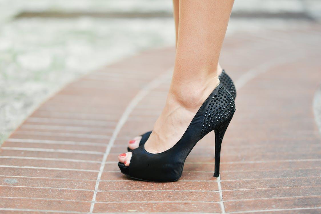 Person Wearing Black Open-toe Stilettos