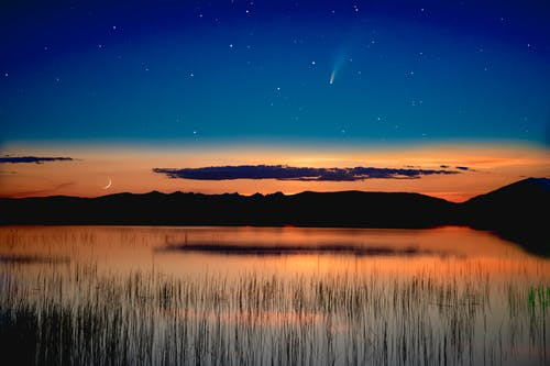 Free stock photo of astrophotography, Brown's Lake, comet, long exposure