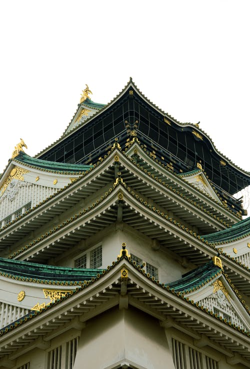 Medieval oriental castle with typical roof ornaments