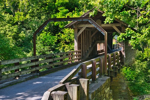 Free stock photo of covered bridge, rustic, scenic, smoky mountains