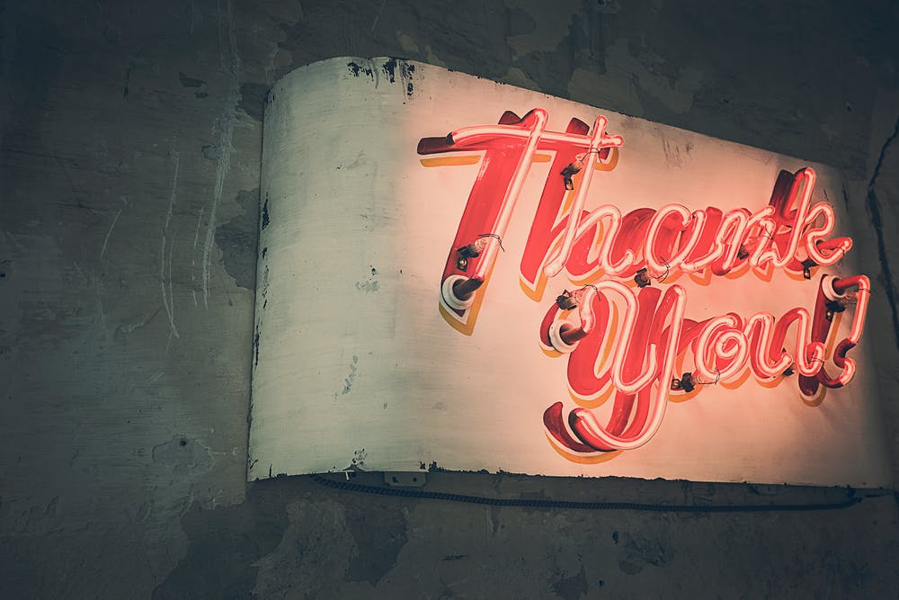A painting of a neon sign displaying 'Thank you!' Photo by pexels user Gratisography. Used courtesy of pexels.com.