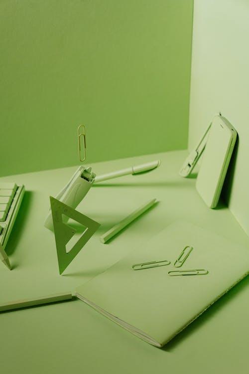 School Materials In Green Background