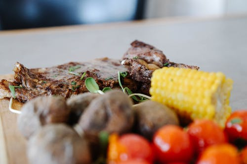 Grilled Meat With Corn and Corn