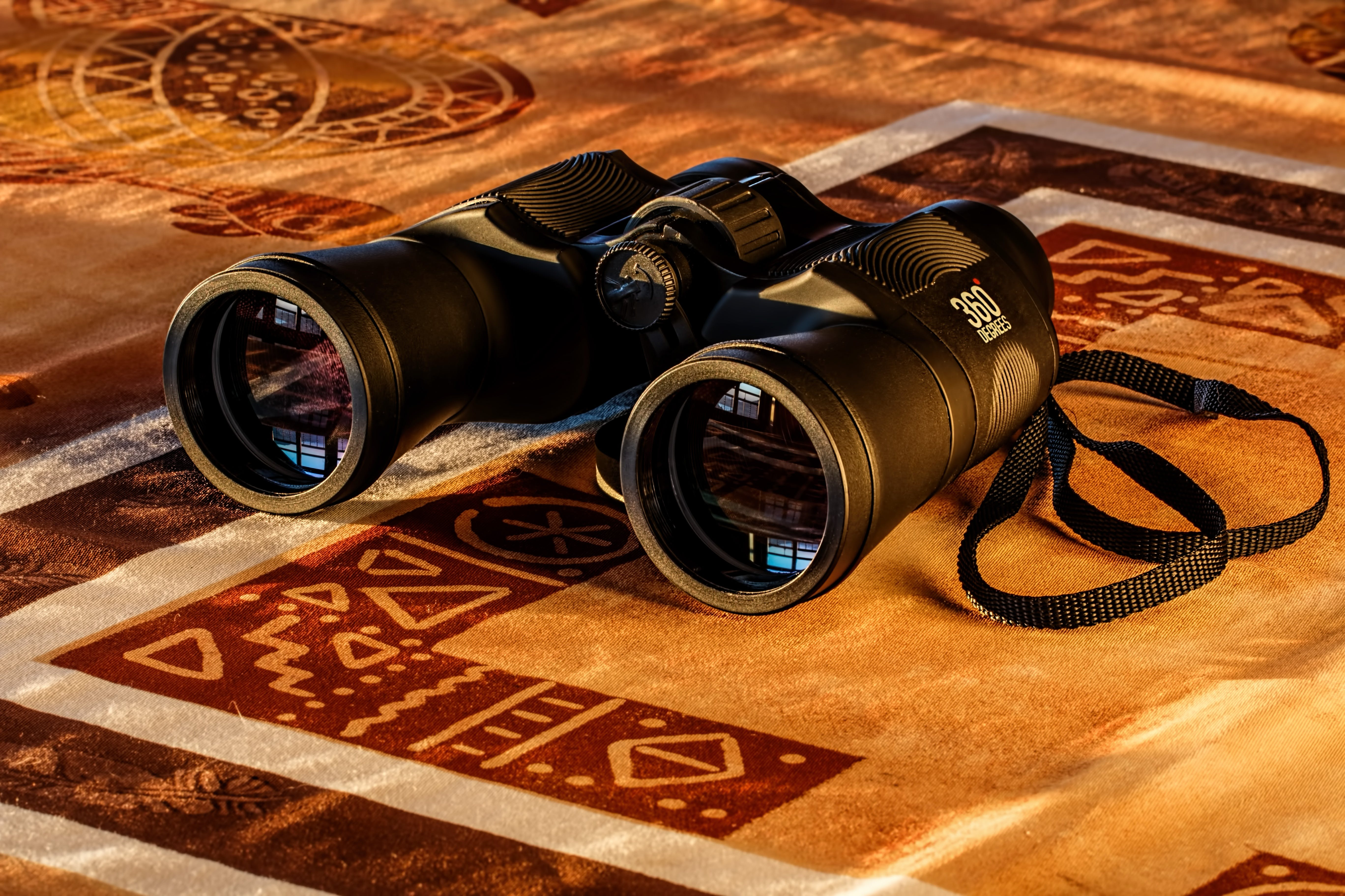 Black Binoculars in Maroon and Beige Textile
