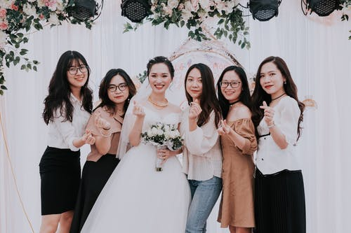 Happy women on wedding celebration