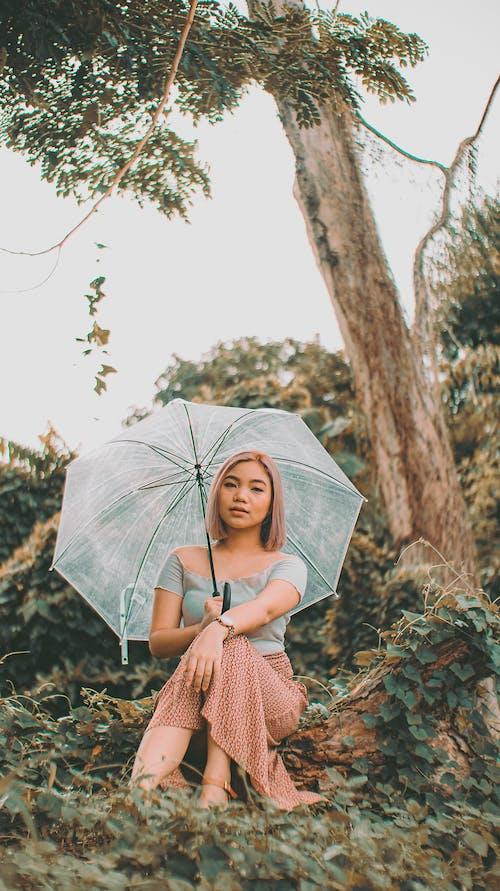 Woman Sitting Under a Tree Holding an Umbrella