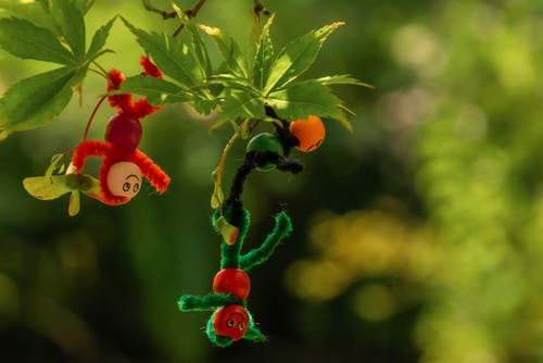 Colorful toys hanging on twigs of tree with lush green leaves in woodland on blurred background on sunny summer day