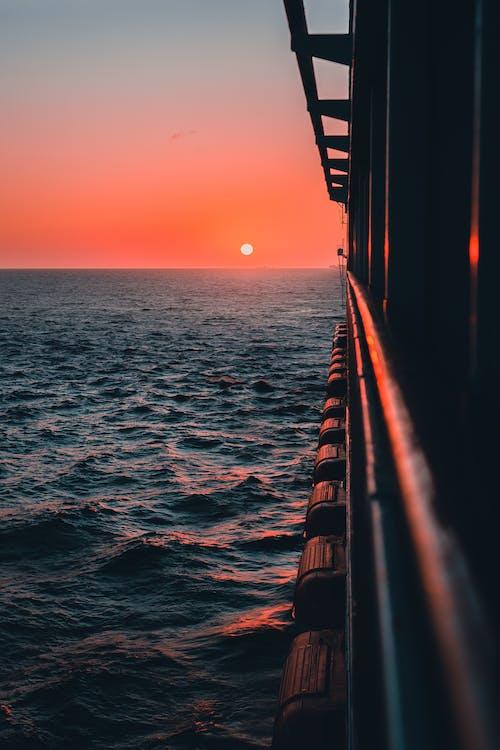 Blue Sea Under Orange Sky during Sunset