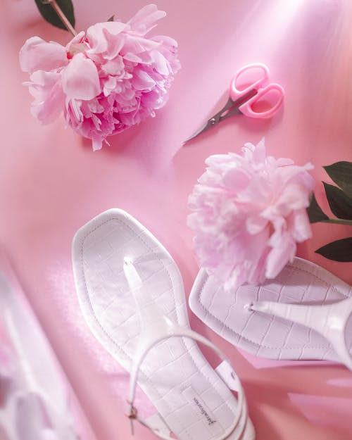 Pink and White Leather Flats