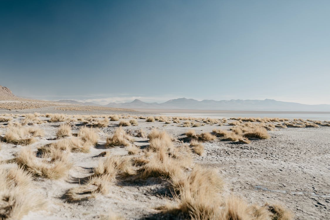 Scenery of barren vast valley covered with random dry grass located in mountainous terrain