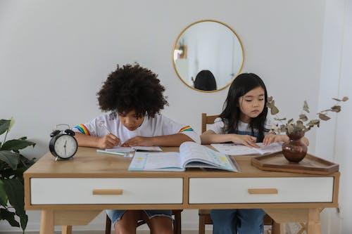 Darmowe zdjęcie z galerii z apartament, azjatycka dziewczyna, biurko, czarna dziewczyna