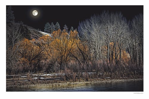 Free stock photo of Bitterroot River, full moon, Montana, moonlight