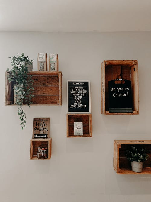 Plants and pictures on shelves on wall