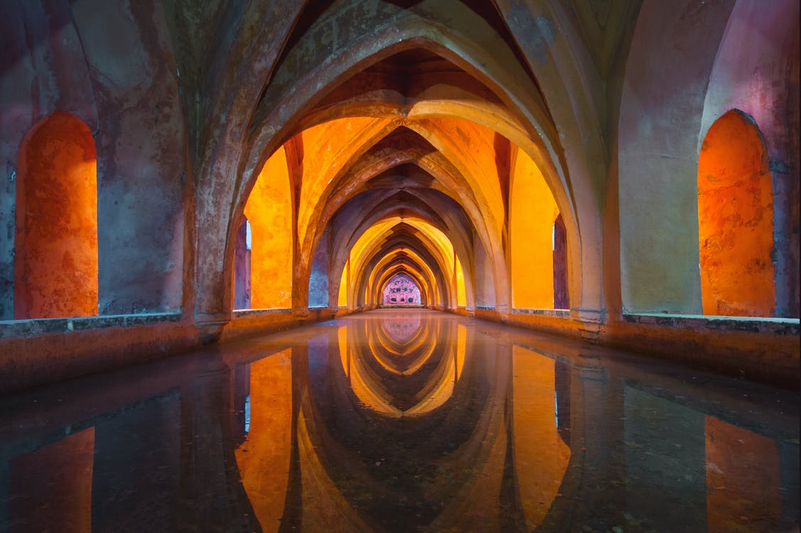 Orange and Gray Tunnel Painting
