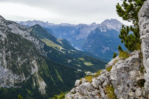 Rocky stone mountains with coniferous trees