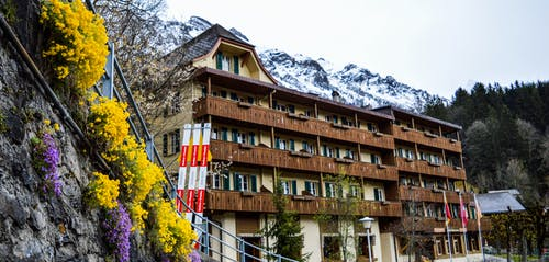 Aged building near snowy mountains and rocky cliff with colorful flowers in valley